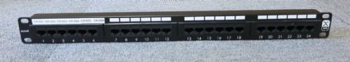 "Excel 100-309 24 Port Cat5e RJ45 1U 19"" Ethernet Network Patch Panel"
